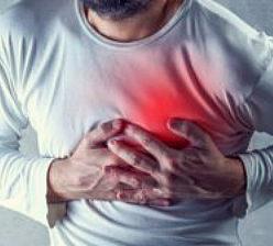 Горит в области сердца